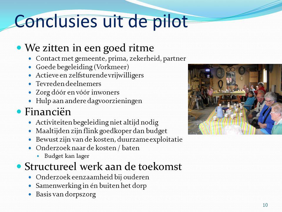 10 Conclusies uit de pilot We zitten in een goed ritme Contact met gemeente, prima, zekerheid, partner Goede begeleiding (Vorkmeer) Actieve en zelfstu