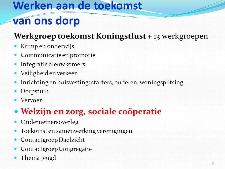 Werken aan de toekomst van ons dorp Werkgroep toekomst Koningstlust + 13 werkgroepen Krimp en onderwijs Communicatie en promotie Integratie nieuwkomer