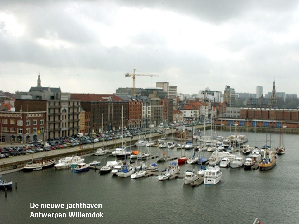 Zicht op het Willemdok met bovenaan de bocht van de Schelde met het strand van Sint Anneke.