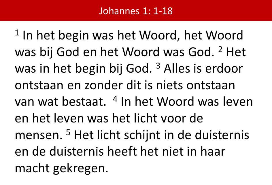 1 In het begin was het Woord, het Woord was bij God en het Woord was God. 2 Het was in het begin bij God. 3 Alles is erdoor ontstaan en zonder dit is