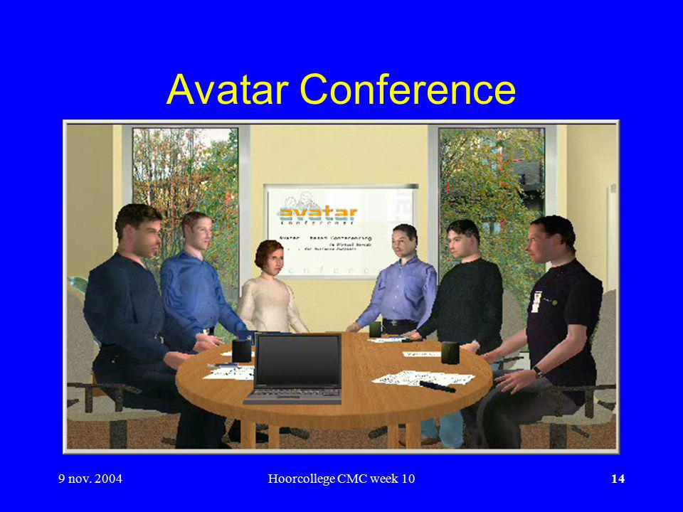 9 nov. 2004Hoorcollege CMC week 1014 Avatar Conference
