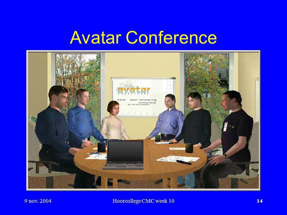 9 nov. 2004Hoorcollege CMC week 1014 Avatar Conference