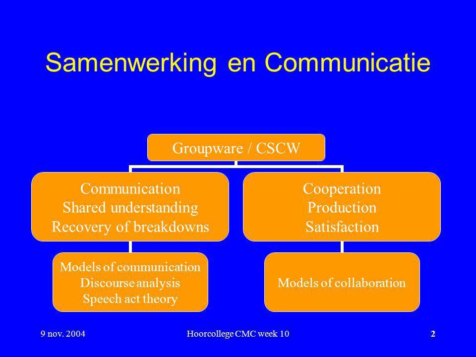 9 nov. 2004Hoorcollege CMC week 102 Samenwerking en Communicatie Groupware / CSCW Communication Shared understanding Recovery of breakdowns Models of