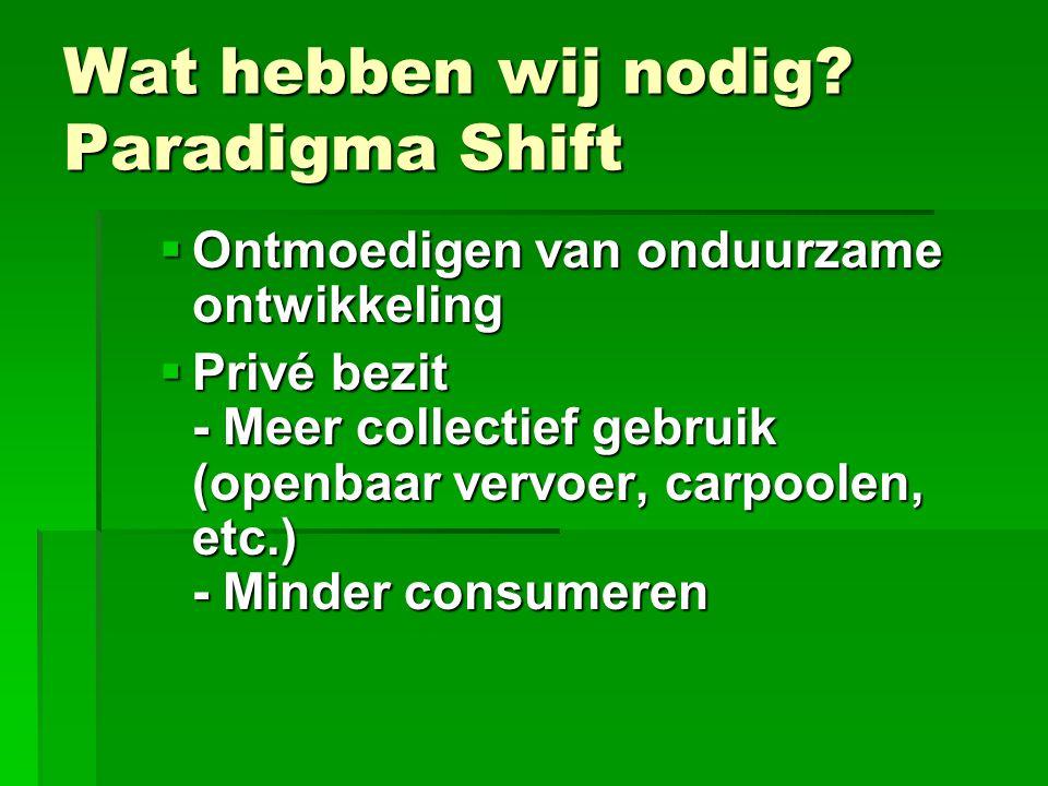 Wat hebben wij nodig? Paradigma Shift  Ontmoedigen van onduurzame ontwikkeling  Privé bezit - Meer collectief gebruik (openbaar vervoer, carpoolen,