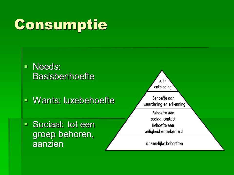 Consumptie  Needs: Basisbenhoefte  Wants: luxebehoefte  Sociaal: tot een groep behoren, aanzien