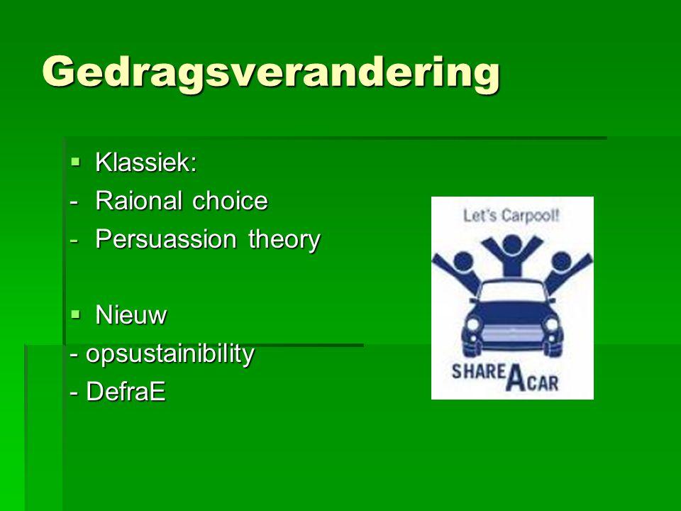 Gedragsverandering  Klassiek: -Raional choice -Persuassion theory  Nieuw - opsustainibility - DefraE