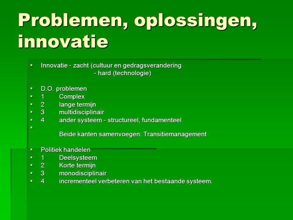 Problemen, oplossingen, innovatie  Innovatie - zacht (cultuur en gedragsverandering - hard (technologie) - hard (technologie)  D.O. problemen  1Com