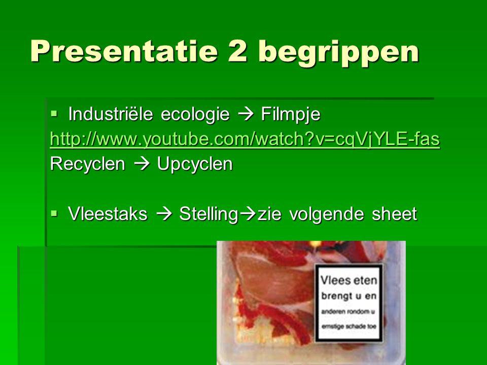 Presentatie 2 begrippen  Industriële ecologie  Filmpje http://www.youtube.com/watch?v=cqVjYLE-fas Recyclen  Upcyclen  Vleestaks  Stelling  zie v