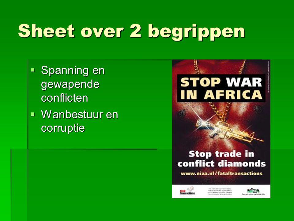 Sheet over 2 begrippen  Spanning en gewapende conflicten  Wanbestuur en corruptie