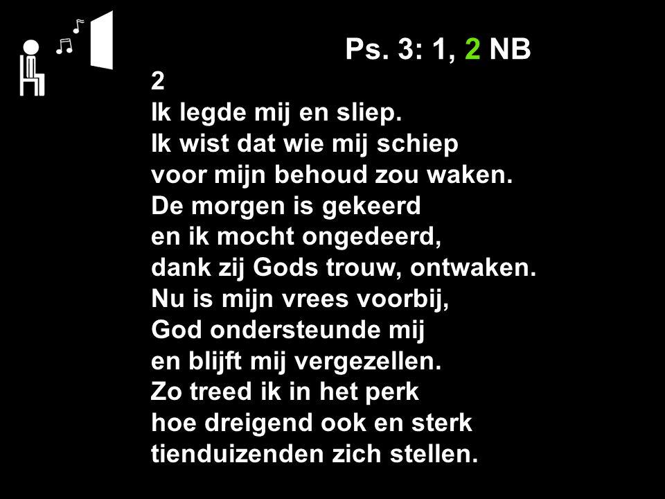 Ps. 3: 1, 2 NB 2 Ik legde mij en sliep. Ik wist dat wie mij schiep voor mijn behoud zou waken. De morgen is gekeerd en ik mocht ongedeerd, dank zij Go