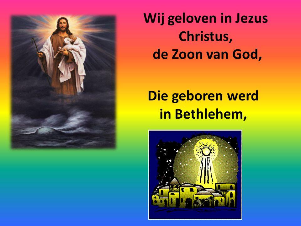 Wij geloven in Jezus Christus, de Zoon van God, Die geboren werd in Bethlehem,