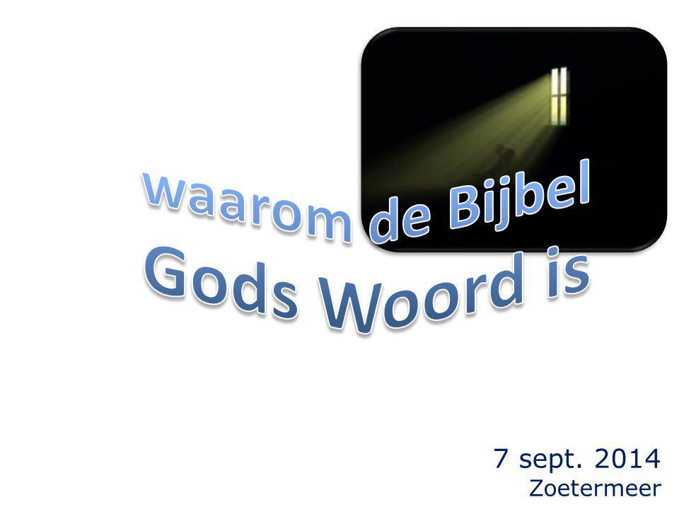 de Bijbel (biblia = bibliotheek) is Gods Woord omdat: 1.het is opgetekend door (vele) ooggetuigen; 2.de Schriften gebundeld zijn door de aangewezen ooggetuigen; 3.de ooggetuigen bereid waren de marteldood te sterven; 4.hun getuigenis de bevestiging is van de woorden van de profeten;