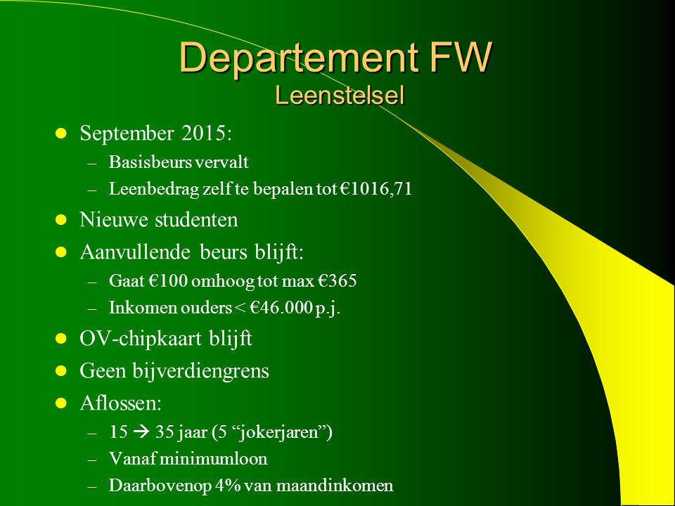 September 2015: – Basisbeurs vervalt – Leenbedrag zelf te bepalen tot €1016,71 Nieuwe studenten Aanvullende beurs blijft: – Gaat €100 omhoog tot max €365 – Inkomen ouders < €46.000 p.j.