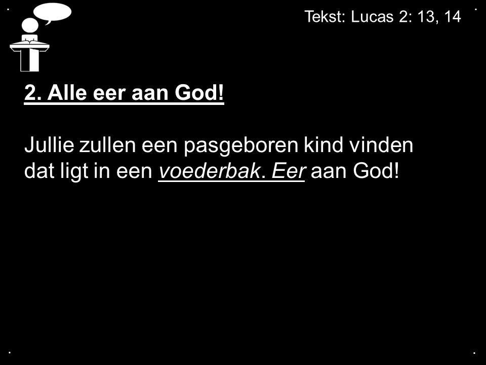 .... Tekst: Lucas 2: 13, 14 2. Alle eer aan God! Jullie zullen een pasgeboren kind vinden dat ligt in een voederbak. Eer aan God!