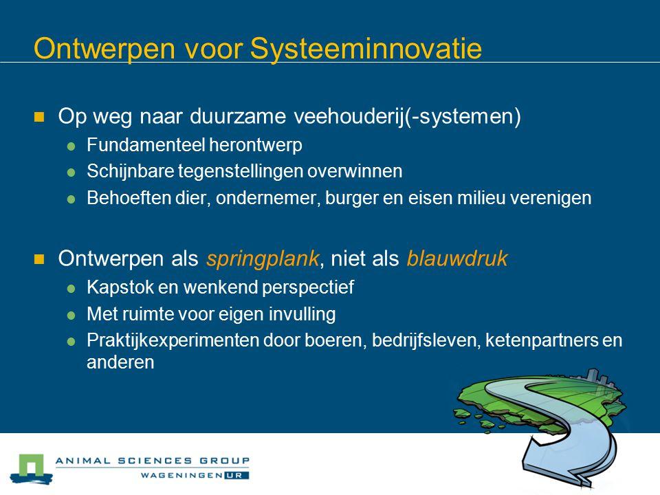 Ontwerpen voor Systeeminnovatie Op weg naar duurzame veehouderij(-systemen) Fundamenteel herontwerp Schijnbare tegenstellingen overwinnen Behoeften di
