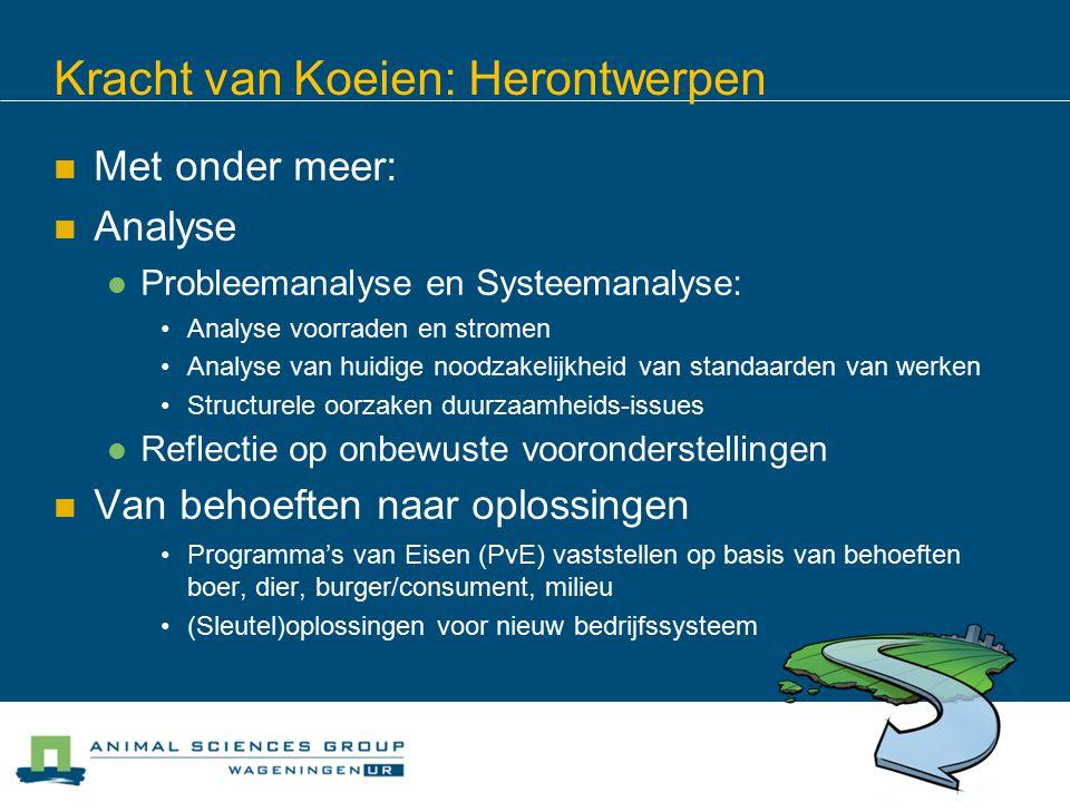 Kracht van Koeien: Herontwerpen Met onder meer: Analyse Probleemanalyse en Systeemanalyse: Analyse voorraden en stromen Analyse van huidige noodzakeli