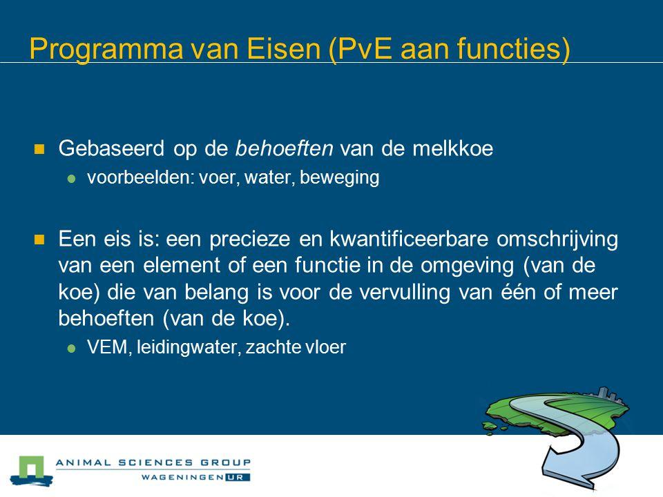 Programma van Eisen (PvE aan functies) Gebaseerd op de behoeften van de melkkoe voorbeelden: voer, water, beweging Een eis is: een precieze en kwantificeerbare omschrijving van een element of een functie in de omgeving (van de koe) die van belang is voor de vervulling van één of meer behoeften (van de koe).