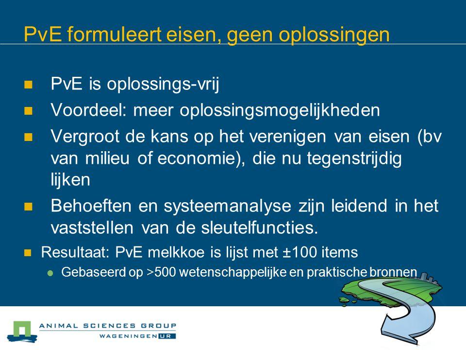 PvE formuleert eisen, geen oplossingen PvE is oplossings-vrij Voordeel: meer oplossingsmogelijkheden Vergroot de kans op het verenigen van eisen (bv van milieu of economie), die nu tegenstrijdig lijken Behoeften en systeemanalyse zijn leidend in het vaststellen van de sleutelfuncties.