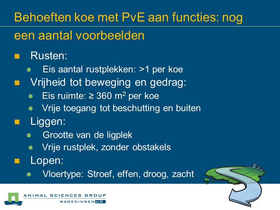 Behoeften koe met PvE aan functies: nog een aantal voorbeelden Rusten: Eis aantal rustplekken: >1 per koe Vrijheid tot beweging en gedrag: Eis ruimte: