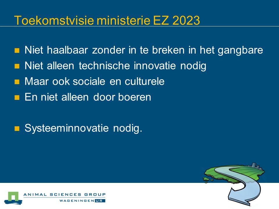 Toekomstvisie ministerie EZ 2023 Niet haalbaar zonder in te breken in het gangbare Niet alleen technische innovatie nodig Maar ook sociale en culturele En niet alleen door boeren Systeeminnovatie nodig.