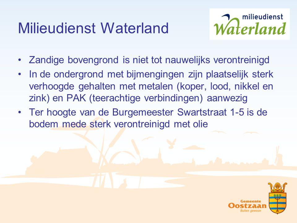 Milieudienst Waterland Zandige bovengrond is niet tot nauwelijks verontreinigd In de ondergrond met bijmengingen zijn plaatselijk sterk verhoogde geha