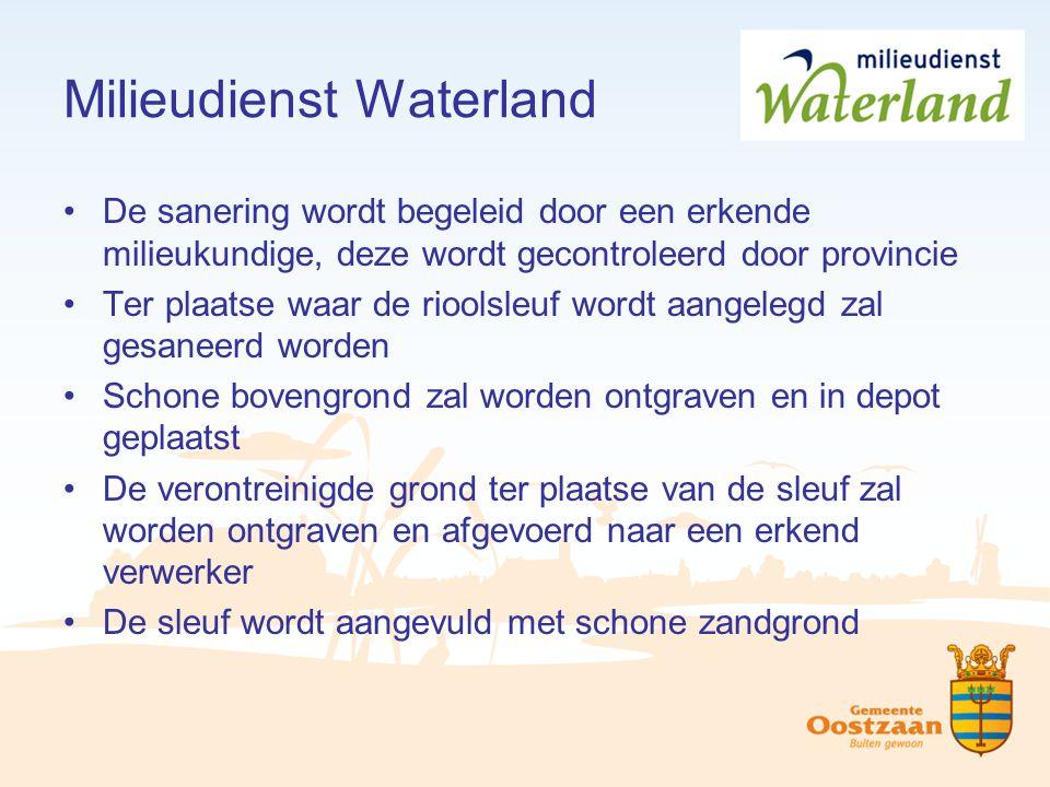 Milieudienst Waterland De sanering wordt begeleid door een erkende milieukundige, deze wordt gecontroleerd door provincie Ter plaatse waar de rioolsle