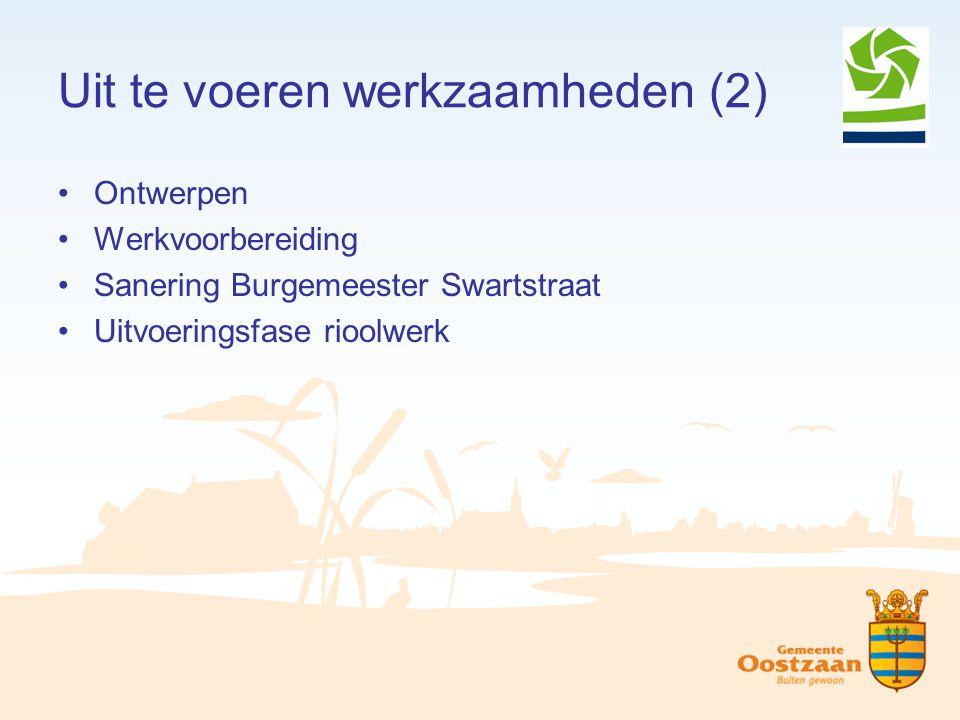 Uit te voeren werkzaamheden (2) Ontwerpen Werkvoorbereiding Sanering Burgemeester Swartstraat Uitvoeringsfase rioolwerk