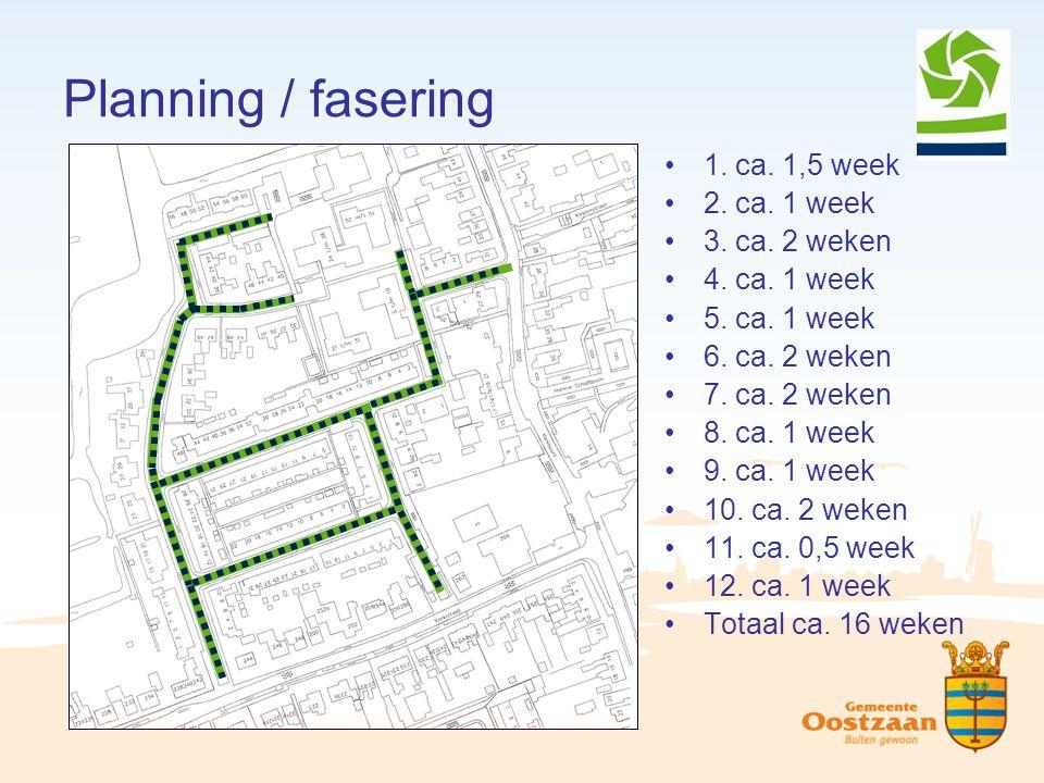 Planning / fasering 1. ca. 1,5 week 2. ca. 1 week 3. ca. 2 weken 4. ca. 1 week 5. ca. 1 week 6. ca. 2 weken 7. ca. 2 weken 8. ca. 1 week 9. ca. 1 week