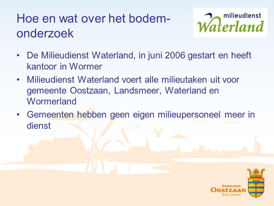 Hoe en wat over het bodem- onderzoek De Milieudienst Waterland, in juni 2006 gestart en heeft kantoor in Wormer Milieudienst Waterland voert alle mili