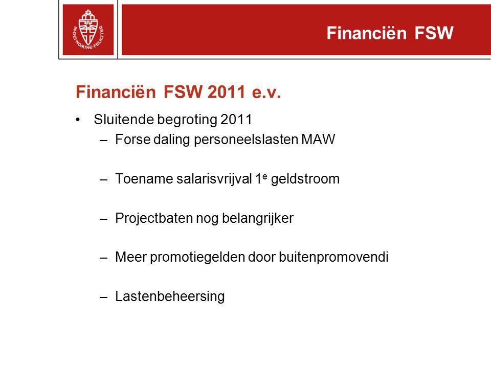 Financiën FSW 2011 e.v. Sluitende begroting 2011 –Forse daling personeelslasten MAW –Toename salarisvrijval 1 e geldstroom –Projectbaten nog belangrij