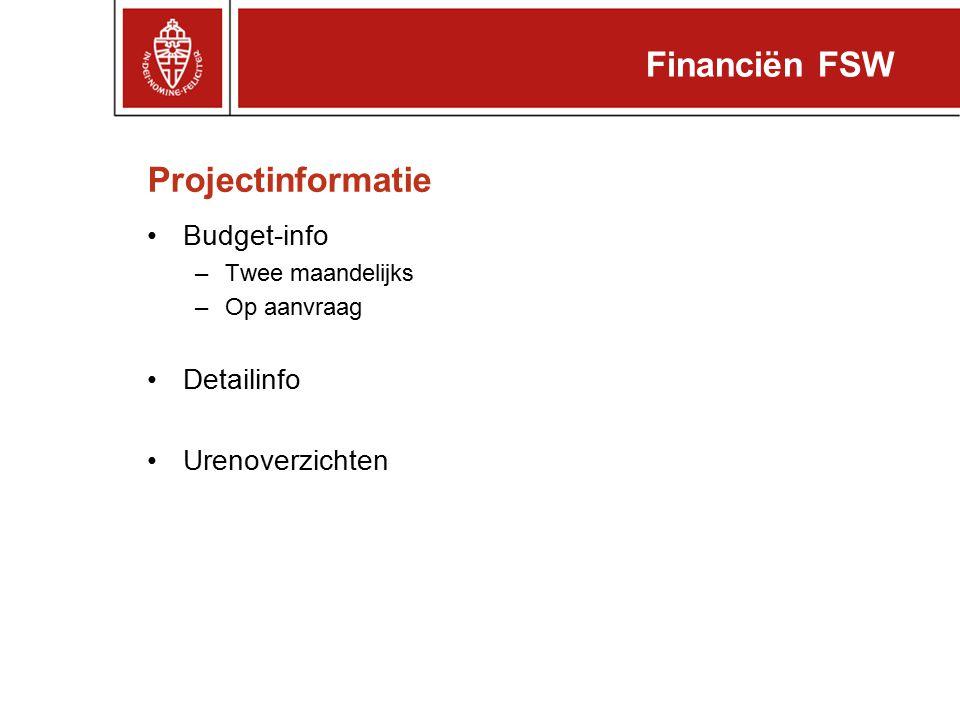 Projectinformatie Budget-info –Twee maandelijks –Op aanvraag Detailinfo Urenoverzichten Financiën FSW