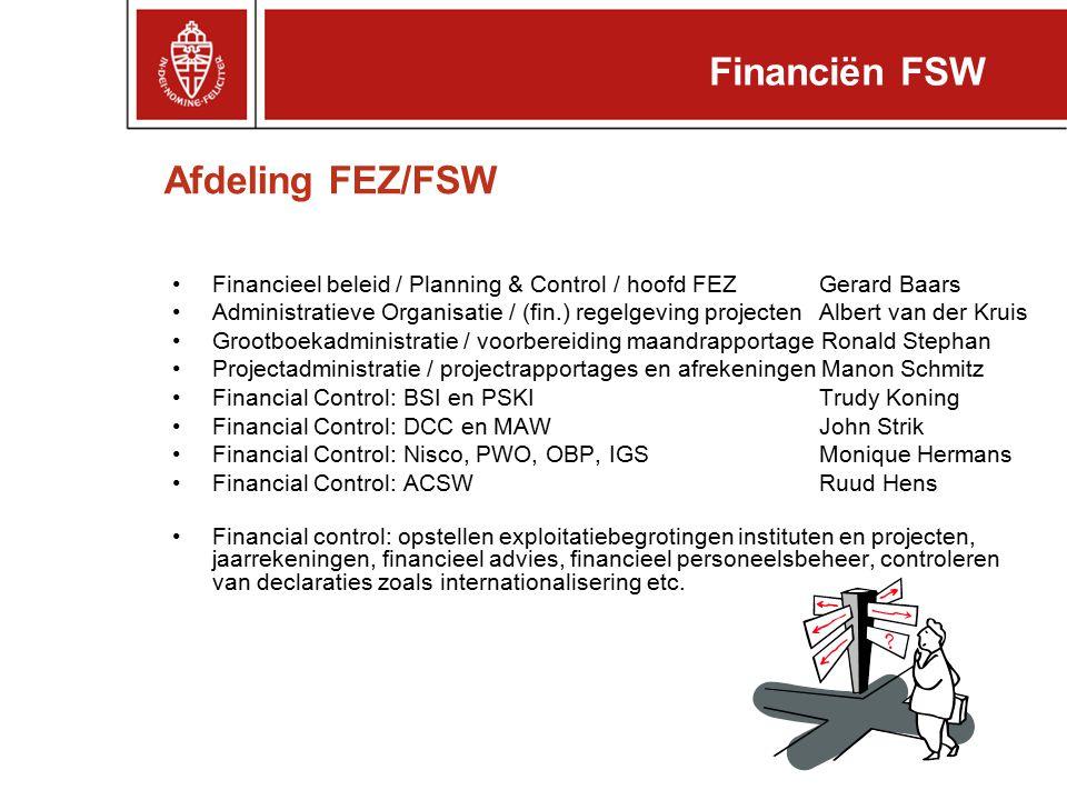 Afdeling FEZ/FSW Financieel beleid / Planning & Control / hoofd FEZ Gerard Baars Administratieve Organisatie / (fin.) regelgeving projecten Albert van