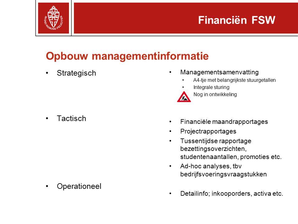 Opbouw managementinformatie Strategisch Tactisch Operationeel Managementsamenvatting A4-tje met belangrijkste stuurgetallen Integrale sturing Nog in o