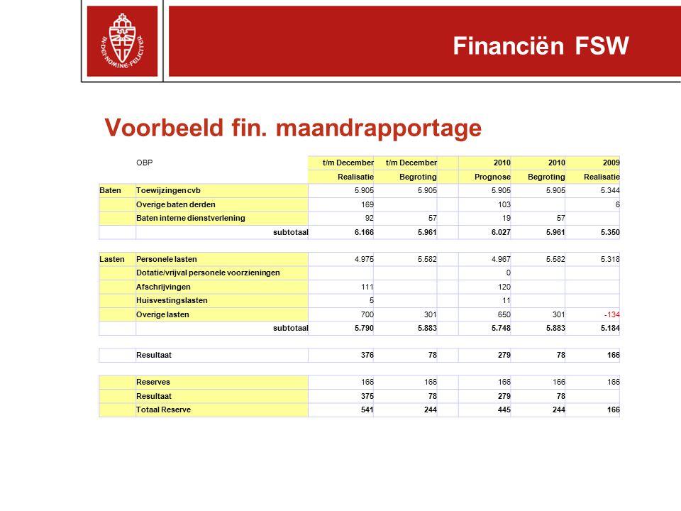 Voorbeeld fin. maandrapportage OBPt/m December 2010 2009 RealisatieBegroting PrognoseBegrotingRealisatie BatenToewijzingen cvb5.905 5.344 Overige bate