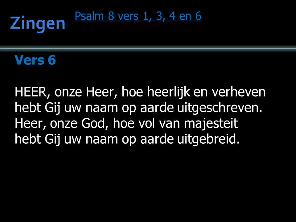 Psalm 8 vers 1, 3, 4 en 6 Vers 6 HEER, onze Heer, hoe heerlijk en verheven hebt Gij uw naam op aarde uitgeschreven.
