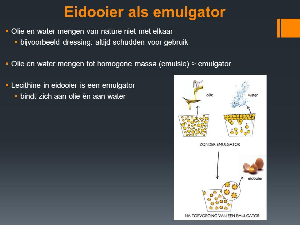 Eidooier als emulgator  Olie en water mengen van nature niet met elkaar  bijvoorbeeld dressing: altijd schudden voor gebruik  Olie en water mengen