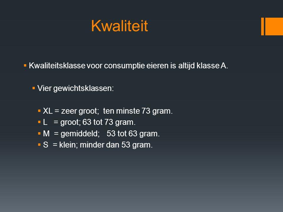 Kwaliteit  Kwaliteitsklasse voor consumptie eieren is altijd klasse A.  Vier gewichtsklassen:  XL = zeer groot; ten minste 73 gram.  L = groot; 63