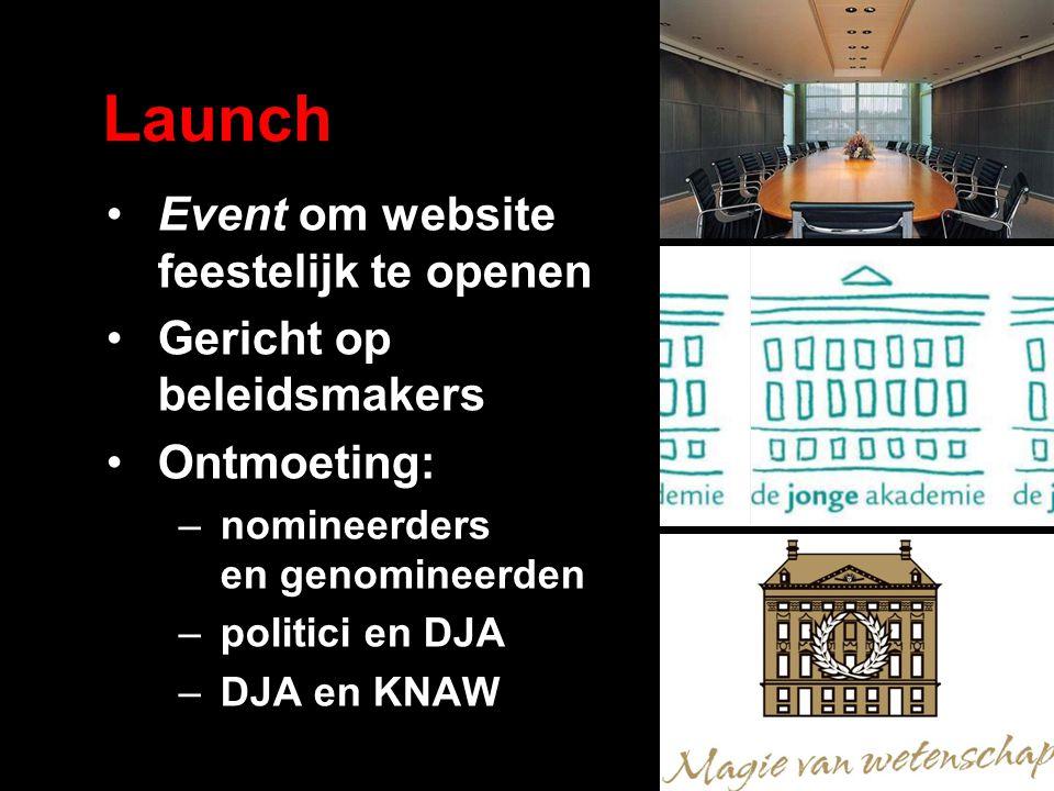 Launch Event om website feestelijk te openen Gericht op beleidsmakers Ontmoeting: –nomineerders en genomineerden –politici en DJA –DJA en KNAW