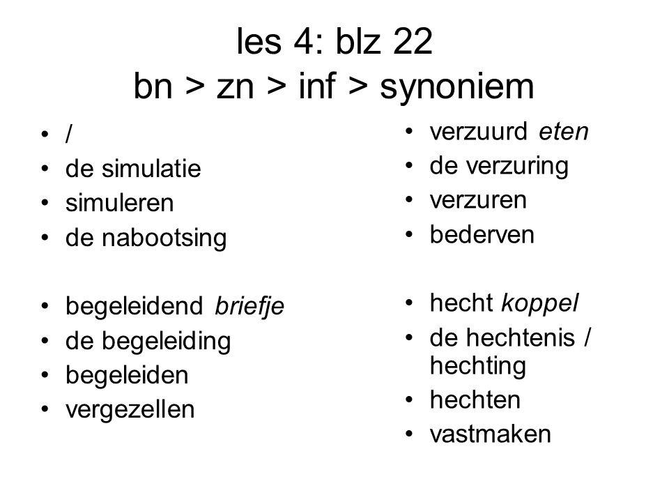 les 4: blz 22 bn > zn > inf > synoniem / de simulatie simuleren de nabootsing begeleidend briefje de begeleiding begeleiden vergezellen verzuurd eten