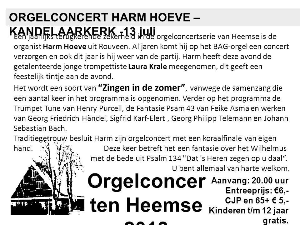 Een jaarlijks terugkerende zekerheid in de orgelconcertserie van Heemse is de organist Harm Hoeve uit Rouveen. Al jaren komt hij op het BAG-orgel een