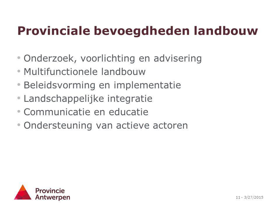11 - 3/27/2015 Provinciale bevoegdheden landbouw Onderzoek, voorlichting en advisering Multifunctionele landbouw Beleidsvorming en implementatie Lands