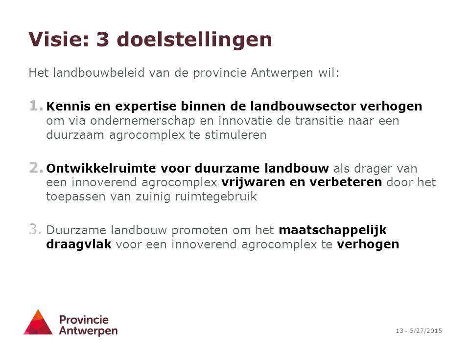13 - 3/27/2015 Visie: 3 doelstellingen Het landbouwbeleid van de provincie Antwerpen wil: 1. Kennis en expertise binnen de landbouwsector verhogen om