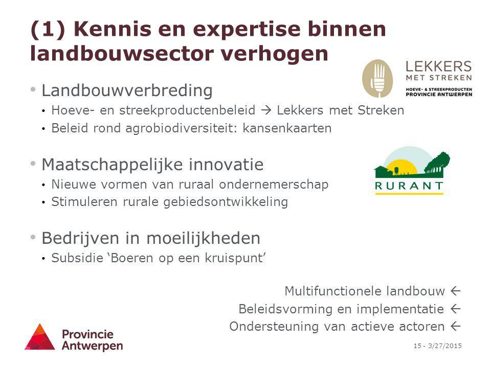 15 - 3/27/2015 (1) Kennis en expertise binnen landbouwsector verhogen Landbouwverbreding Hoeve- en streekproductenbeleid  Lekkers met Streken Beleid