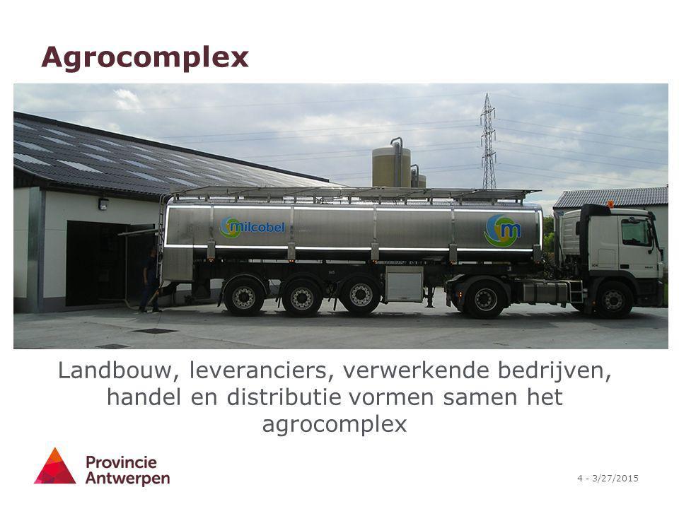 4 - 3/27/2015 Agrocomplex Landbouw, leveranciers, verwerkende bedrijven, handel en distributie vormen samen het agrocomplex