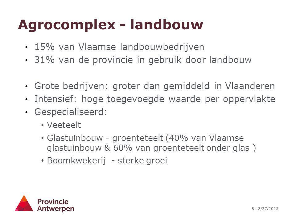 8 - 3/27/2015 Agrocomplex - landbouw 15% van Vlaamse landbouwbedrijven 31% van de provincie in gebruik door landbouw Grote bedrijven: groter dan gemid