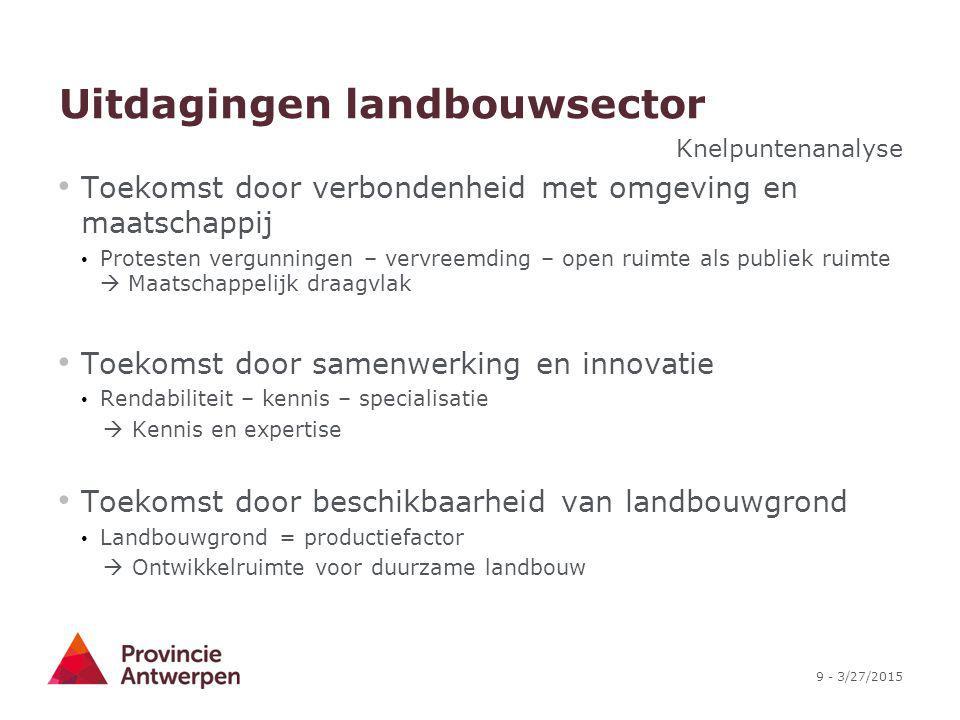 20 - 3/27/2015 Landbouwbeleid provincie Antwerpen Het landbouwbeleid van de provincie Antwerpen ontwikkelt en stimuleert duurzame landbouw als drager van een innoverend agrocomplex door (1) kennis en expertise binnen de landbouwsector te verhogen, (2) ontwikkelruimte voor duurzame landbouw te vrijwaren en (3) maatschappelijk draagvlak te verhogen.