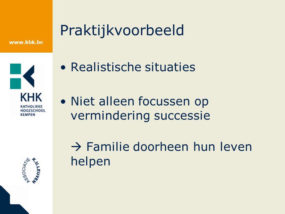www.khk.be Praktijkvoorbeeld Realistische situaties Niet alleen focussen op vermindering successie  Familie doorheen hun leven helpen