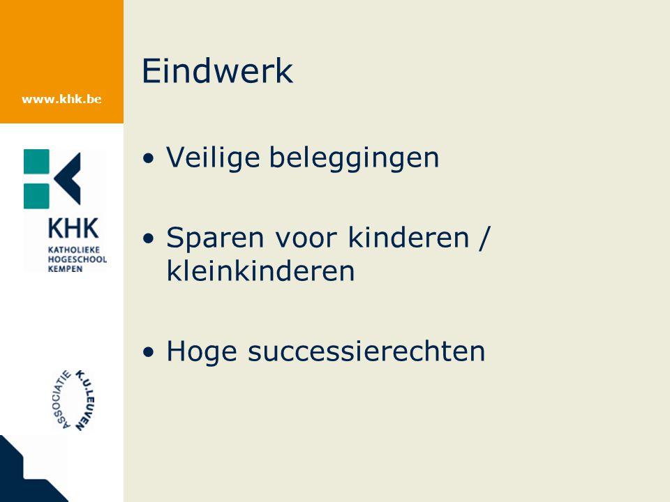 www.khk.be Eindwerk Veilige beleggingen Sparen voor kinderen / kleinkinderen Hoge successierechten