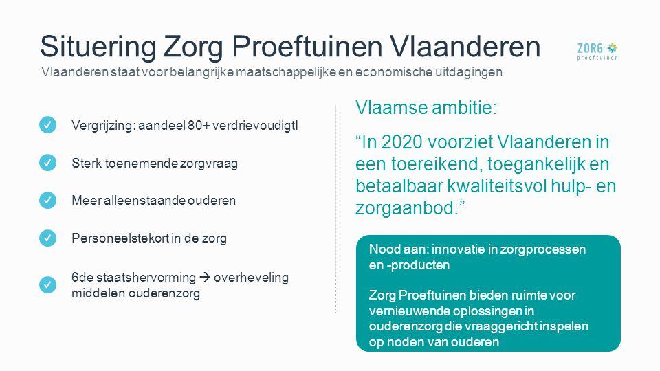 """Situering Zorg Proeftuinen Vlaanderen Vlaanderen staat voor belangrijke maatschappelijke en economische uitdagingen Vlaamse ambitie: """"In 2020 voorziet"""