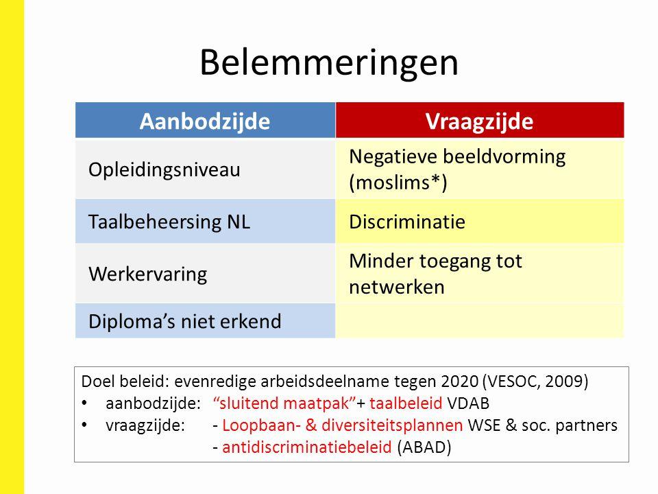 Belemmeringen AanbodzijdeVraagzijde Opleidingsniveau Negatieve beeldvorming (moslims*) Taalbeheersing NLDiscriminatie Werkervaring Minder toegang tot netwerken Diploma's niet erkend Doel beleid: evenredige arbeidsdeelname tegen 2020 (VESOC, 2009) aanbodzijde: sluitend maatpak + taalbeleid VDAB vraagzijde: - Loopbaan- & diversiteitsplannen WSE & soc.